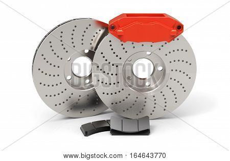 Car brake system. Steel brake disk red calipers and pads. Isolated on white background. 3D rendering