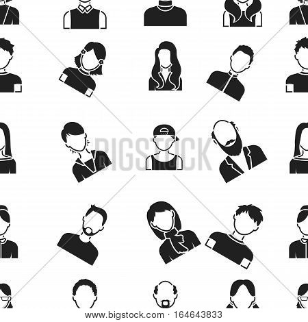 Avatar pattern icons in black style. Big collection of avatar vector symbol stock