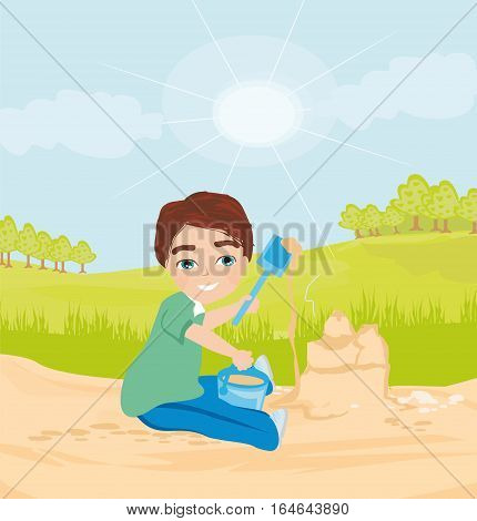 happy child plays with sand , vector illustration