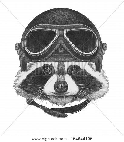 Portrait of Raccoon with Vintage Helmet. Hand drawn illustration.