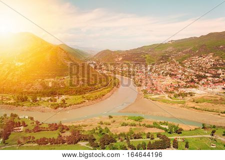 Panoramic view of the city of Mtskheta from the mountain on which stands the monastery Jvari. Place where three rivers converge. Georgia.