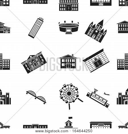 Building pattern icons in black style. Big collection of building vector symbol stock