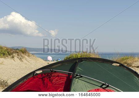 Tent on a beach. Black sea coast