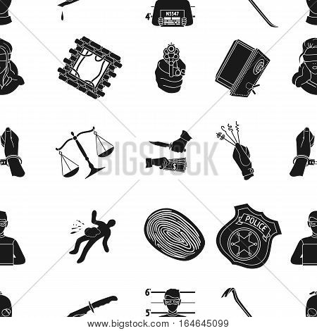 Crime pattern icons in black style. Big collection of crime vector symbol stock