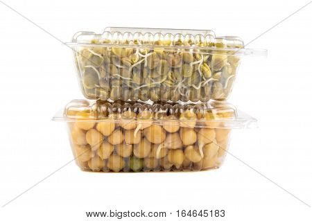Chickpea And Lentil In A Plactic Boxes