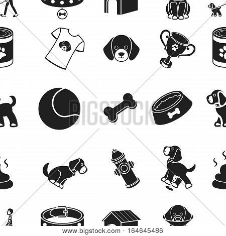 Dog equipment pattern icons in black style. Big collection of dog equipment vector symbol stock