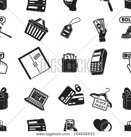 E-commerce pattern icons in black style. Big collection of e-commerce vector symbol stock