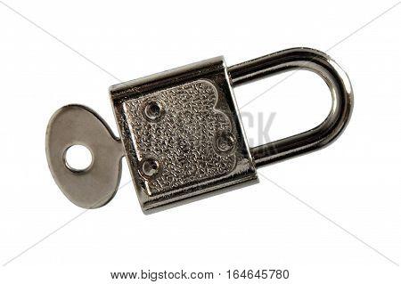 Vintage lock and key isolated on white background