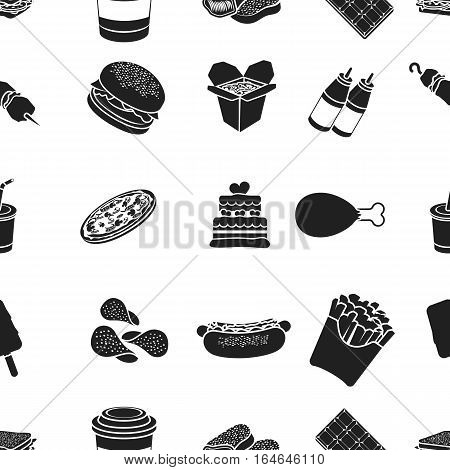 Fast food pattern icons in black style. Big collection of fast food vector symbol stock