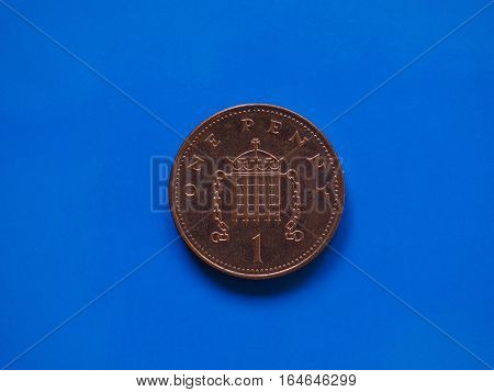 1 Penny Coin, United Kingdom Over Blue