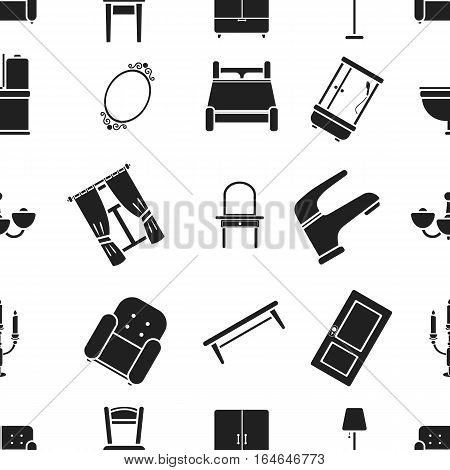 Furniture pattern icons in black style. Big collection of furniture vector symbol stock