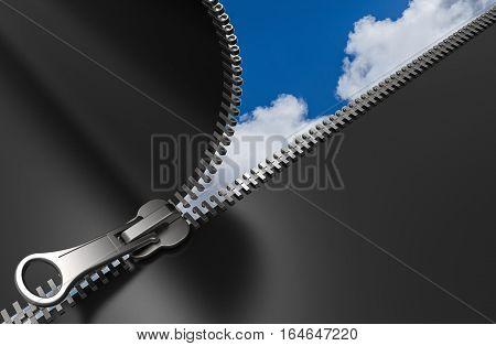 Zipper with sky in background 3D rendering