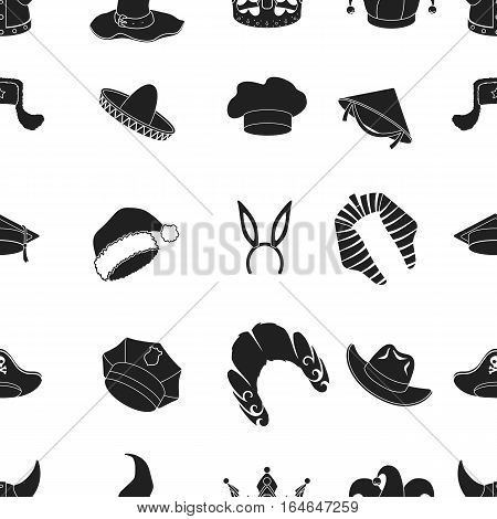 Hats pattern icons in black style. Big collection of hats vector symbol stock