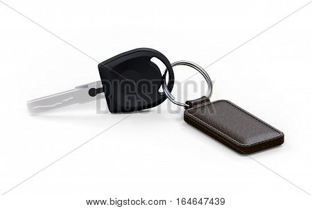 Car key with leather fob on white background 3D rendering