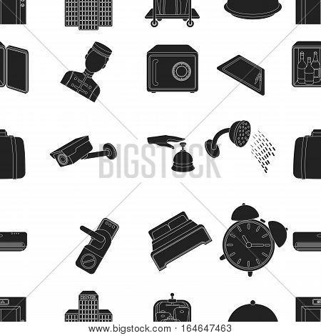 Hotel pattern icons in black style. Big collection of hotel vector symbol stock