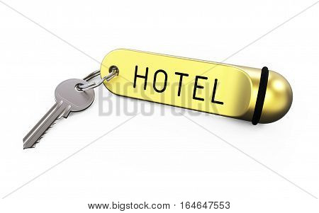 Key with label hotel on white background 3D rendering