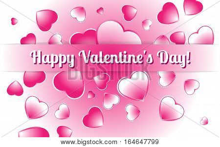 Festive decorative picture of hearts Happy Valentine's Day. Vector