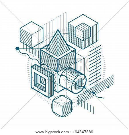 Isometric Abstract Background With Linear Dimensional Shapes, Vector 3D Mesh Elements. Composition O