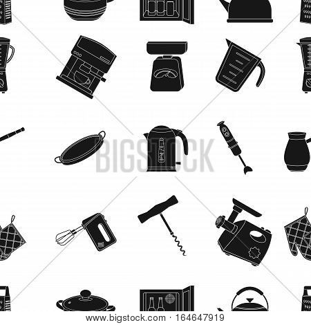 Kitchen pattern icons in black style. Big collection of kitchen vector symbol stock