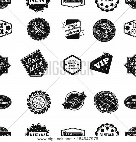 Label pattern icons in black style. Big collection of label vector symbol stock