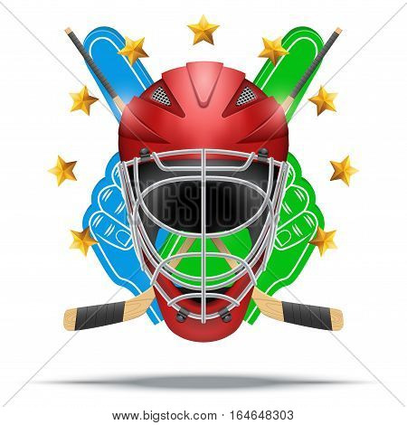 Ice hockey symbol goalie helmet with fan fingers and sticks. Design elements. Illustration isolated on white background.