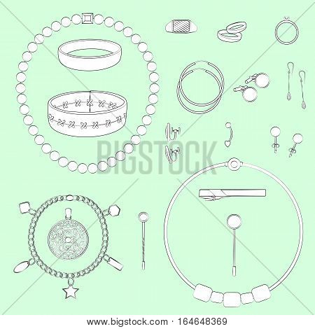 Set of jewelry illustrations. Light green background, white objects, black outline. Isolated images for your design. Vector