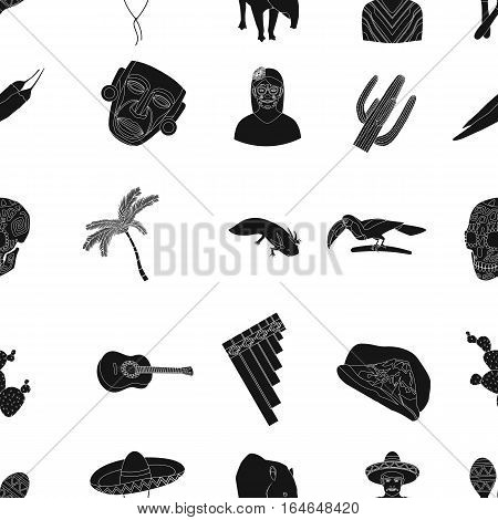 Mexico country pattern icons in black design. Big collection of mexico country vector symbol stock illustration