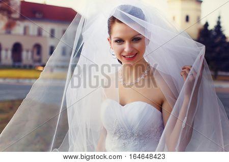Amazing misterious bride smiles under a veil