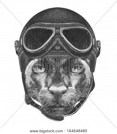 Portrait of Panther with Vintage Helmet. Hand drawn illustration.