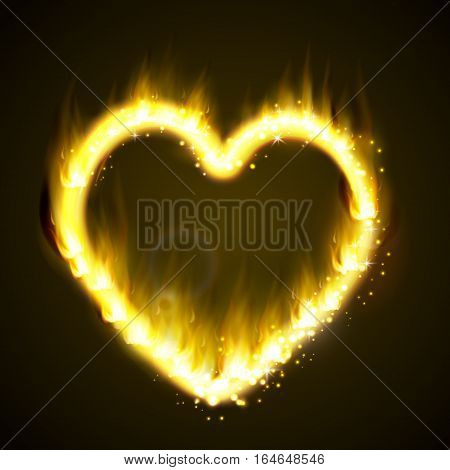 flame heart on the dark background yellow and magic
