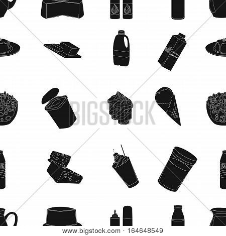 Milk product and sweet pattern icons in black design. Big collection of milk product and sweet vector symbol stock illustration