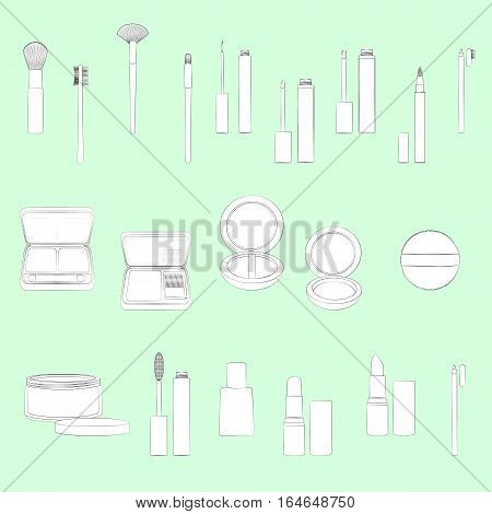 Set of make-up equipment illustrations. Light green background, white objects, black outline. Isolated images for your design. Vector