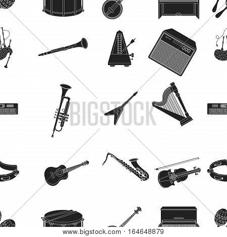 Musical instruments pattern icons in black style. Big collection of musical instruments vector symbol stock