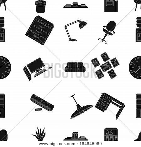 Office furniture and interior pattern icons in black design. Big collection of office furniture and interior vector symbol stock illustration