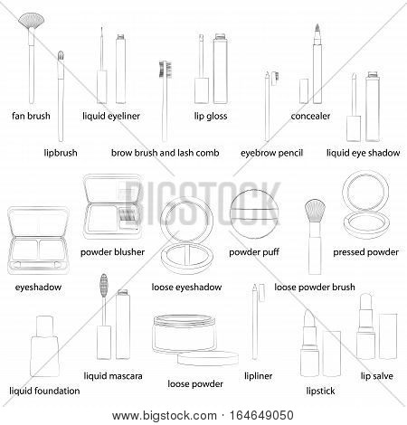 Set of make-up equipment illustrations. White background, white objects, black outline, names. Isolated images for your design. Vector