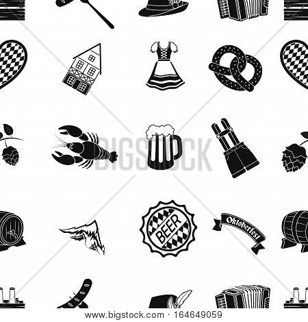 Oktoberfest pattern icons in black style. Big collection of Oktoberfest vector symbol stock