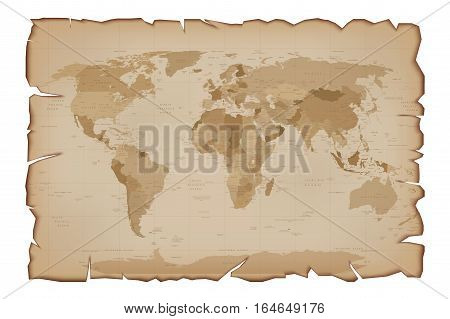 Old Map on Paper Scroll with tattered edges. Vector illustration Isolated on white background.
