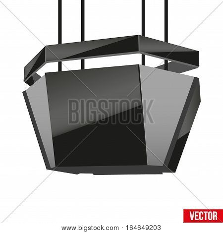 Realistic Indoor Advertising Cube LED Panel in stadium. Vector Illustration.