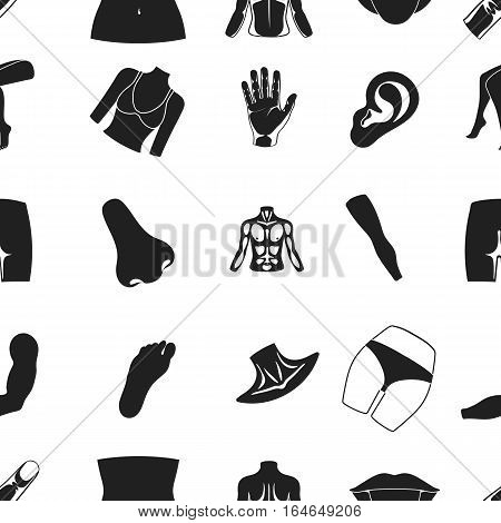Part of body pattern icons in black style. Big collection of part of body vector symbol stock