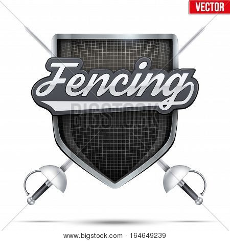 Fencing shield label with tag and epee. Symbol of sport or club. Vector Illustration isolated on white background.