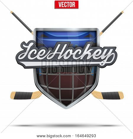 Ice hockey symbol goalie helmet in helmet with sticks. Design elements. Illustration isolated on white background.