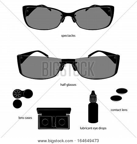 Set of glasses and lens illustrations. White background, black objects, white outline, names. Isolated images for your design. Vector
