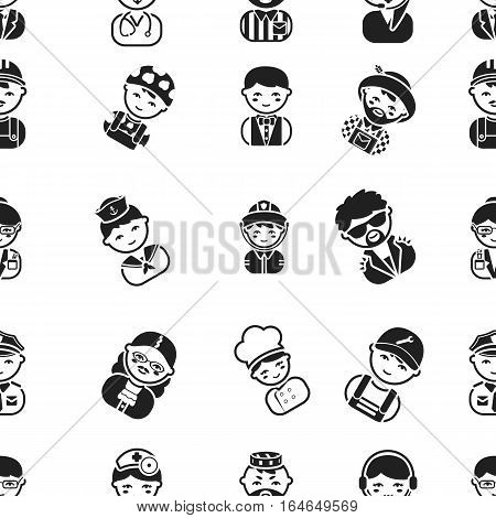 Proffesion pattern icons in black style. Big collection of proffesion vector symbol stock