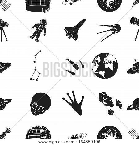Space pattern icons in black style. Big collection of space vector symbol stock