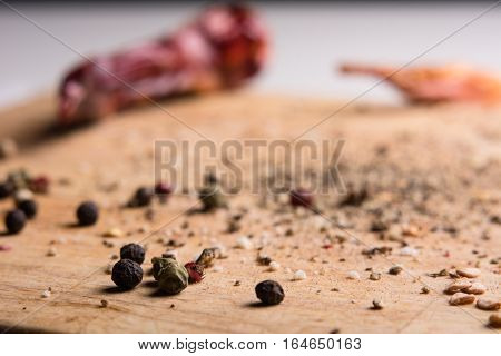 In Kitchen Chopping Board Ground Pepper And Peas