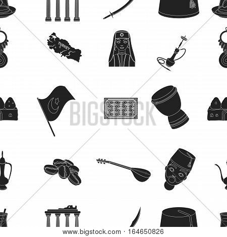 Turkey pattern icons in black style. Big collection of Turkey vector symbol stock