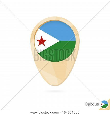 Map Pointer With Flag Of Djibouti. Orange Abstract Map Icon.