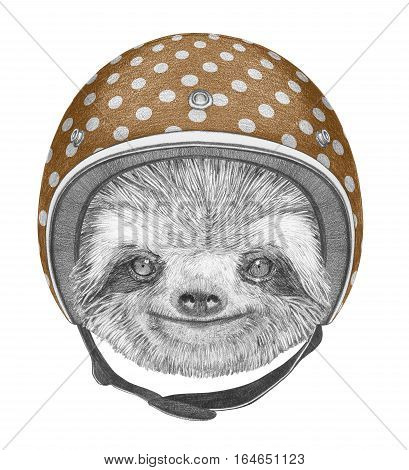 Portrait of Sloth with Helmet. Hand drawn illustration.