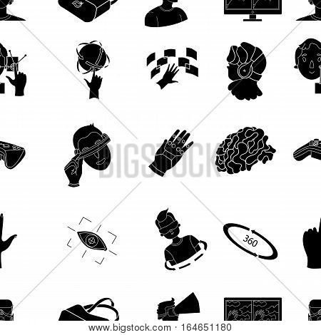 Virtual reality pattern icons in black design. Big collection of virtual reality vector symbol stock illustration
