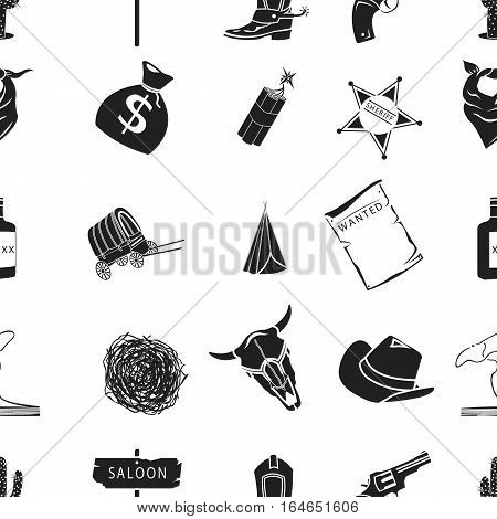 Wild west pattern icons in black style. Big collection of wild west vector symbol stock